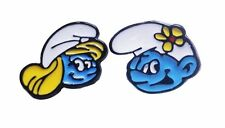 Smurfette & Vanity Smurf Characters Metal Enamel Stud Earrings