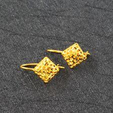 Pure 999 24K Yellow Gold Women Square Stud Dangle Earring/3.3g