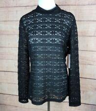 $79 NWT LAUNDRY SHELLI SEGAL Womens L Black Sheer Lace Mock Neck Blouse