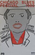 """""""CHICAGO BLUES FESTIVAL 1982"""" Affiche originale entoilée BUZ / J.B. HUTTO"""