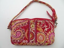 "Vera Bradley Red Pink Paisley Small Hand Bag Clutch Purse 7"" x 4.5"""