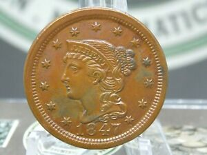 1847 Braided Hair Large Cent 1c #1  East Coast Coin & Collectables, Inc.