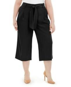 MSRP $85 Alfani Plus Size Tummy-Control Tie-Waist Culottes Black Size 24W