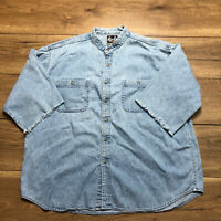 Men's Harley Davidson Pearl Snap Button Blue Shirt Size XXXL See Details & Pics