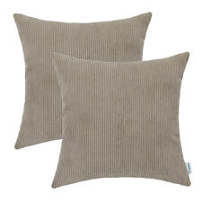 "2Pcs Taupe Cushion Covers Cases Home Decor Comfortable Corduroy Stripes 20""x20"""