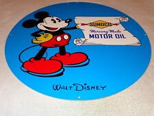 """VINTAGE MICKEY MOUSE SUNOCO MERCURY MADE MOTOR OIL & GAS 19"""" METAL GASOLINE SIGN"""