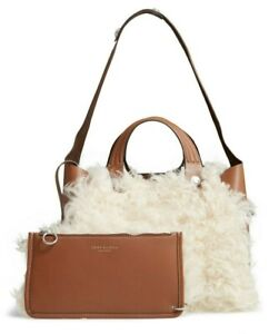 Tory Burch Rory Shearling & Leather Mini Tote Satchel Shoulder Bag Pouch Natural