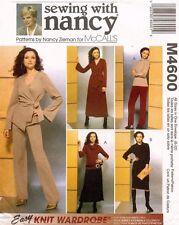 McCall's Misses' Jacket,Top,Dress,Cowl,Pants,Skirt Pattern M4600 Size S-XL UNCUT