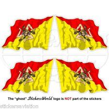 SICILE Sicilienne Flying drapeau Sicile Italie Italien 50 mm Vinyle Stickers Autocollants x4