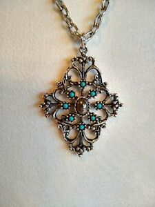 Vintage Avon Silver Tone and Faux Turquoise Pendant Necklace South Western Retro