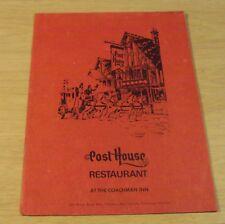 """1960's COACHMAN INN Dinner MENU @ the """"POST HOUSE RESTAURANT"""" Victoria BC Canada"""