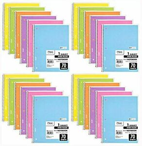 Mead Spiral Notebook 24 Pack of 1-Subject Wide Ruled Spiral Bound Notebooks
