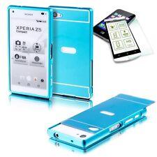 Alu Bumper 2 teilig Blau + 0,3 H9 Panzerglas für Sony Xperia Z5 Compact 4.6 Case