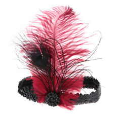 Crystal Sequins 1920s Gatsby Flapper Headpiece Wedding Headband-Wine Feather