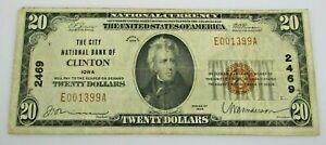1929 Clinton Iowa National Currency $20 Dollar #2469