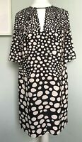 ISSA LONDON Black Ivory Spotted Cold Shoulder Tunic Swing Dress Sz 10 Keyhole