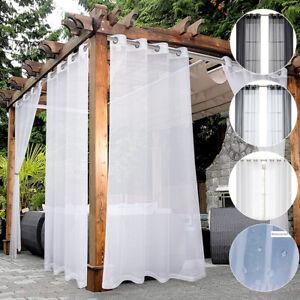 Waterproof Outdoor Porch Yard Voile Sheer Pergola Patio Curtain Drapes Eyelets