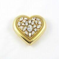 53de70e2342 Vintage YSL Yves Saint Laurent Clear Crystal Heart Jewel Compact Robert  Goossens
