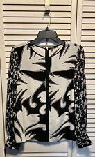 1f650ae7de5e0c Raoul Women s Silk Top Blouse Black White Print Sheer Sleeves Size 6 (JB)