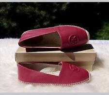 MK Michael Kors Women's Dylyn Espadrille Slip On Flat - Leather - Berry 9.5M