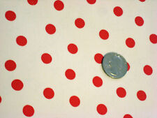 WHITE + RED POLKA DOTS SPOTS OILCLOTH VINYL SEWING CRAFT DECOR PARTY FABRIC BTY