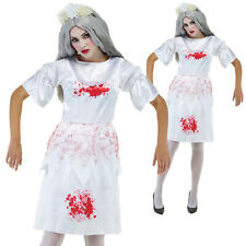 Ladies Mad Maid Costume Zombie Halloween Delicate Fancy Dress Bloody Outfit