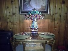 TIFFANY STYLE STAINED GLASS DRAGONFLY TABLE LAMP - NIGHT LIGHT BASE