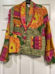 Sandy Starkman Women's Sequin Jacket Multicolor Embroidered- Large EUC!