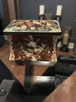 "Vintage Edward Sharp & Sons Ltd. Unique Shape Floral Print Tin Box 8""x6"""