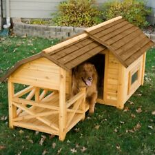 Dog House Pet Wood Outdoor Shelter Kennel Large Weather Cage Home Wooden Barn