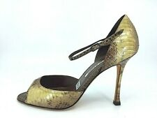 8b1c0f498863 MANOLO BLAHNIK Python brown   green open toe high heel d Orsay Pumps Sz 39.5