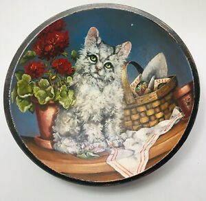 Original Oil Painting Turned Wood Bowl Cat Garden Floral Flowers Realism Signed