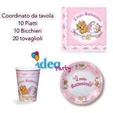 COORDINATO TAVOLA BATTESIMO Bimba Addobbi festa Set completo rosa