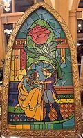 Disney Parks Beauty & The Beast Stained Glass Decorative Window Frame New W/ Box