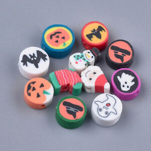 50 BULK Beads Polymer Clay Beads Halloween Christmas Coin Shaped Assorted Lot