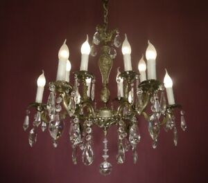 """CRYSTAL FRENCH OLD NICKEL CHANDELIER LAMP HOME DECOR HALL ENTRY WAY 12 L Ø 26"""""""