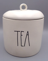 Rae Dunn TEA Canister Jar Large Lettering Cookie Jar White Artisan Collection