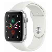 Apple Watch Series 5 44mm GPS Aluminum Silver Case White Sport Band Smartwatch