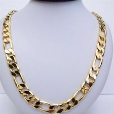 """Men Ladies 9ct 9K YELLOW """"GOLD FILLED"""" FIGARO 24"""" Necklace Chain . W=10mm"""