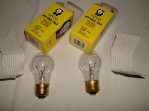 2-SATCO S3870 60W A15 130V E26 BASE - CLEAR INCANDESCENT APPLIANCE BULBS