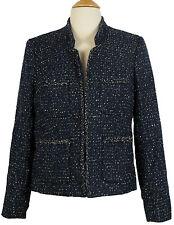 JCrew Metallic Tweed Jacket w/ Front Pockets Navy Multi Sz 8 blazer e5087 $198