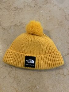 The North Face Baby Box Logo Pom Beanie Hat XS 6-24 Months TNF Yellow EUC