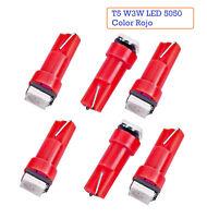 x6 Bombillas Color ROJO T5 W3W 5050 LED SALPICADERO Cuentakilometros 74 73