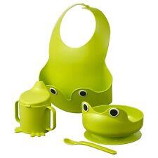 Ikea Mata Baby Toddler Dish Set Green Frog 4 Sets Bib Spoon Bowl Sippy Cup New