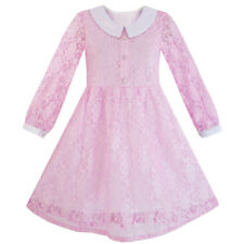 Sunny Fashion Girls Dress Flower Lace White Collar Skirt Dress Age 4-12 Years