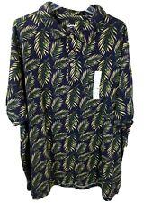 GOODFELLOW tall men's blue foliage print polo s/s shirt size 3XB NWT