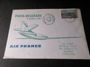 France 1967 Letter Paris Aviation Flight Paris Belgrade, Air France,Air Mail