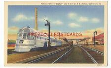 Denver Zephyr Streamliner and Cb&Q Railroad Station - 1940 Linen - Galesburg Il