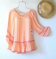 New~$58~Peach & Pink Crochet Lace Peasant Blouse Ruffle Boho Top~Size Large L