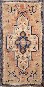 Geometric Authentic Oushak Turkish Oriental Area Rug Hand-knotted Carpet 2x3 ft